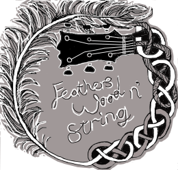 feathers wood n string logo grey backsvg