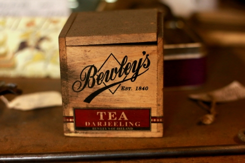 old tea box in blacksmith Rowsley